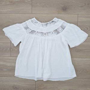 Zara embroidered lace peasant blouse whitesmall